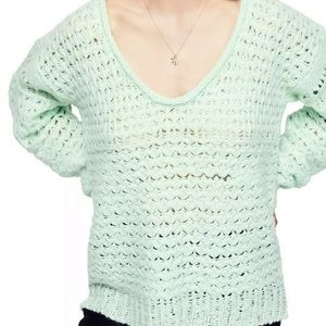 Free People Womens Crashing Waves Crochet Pullover